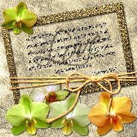 Frame, flower, word art.