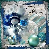 Teal blue green blue christmas page