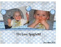 Boys first spaghetti