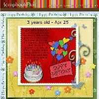 Happy 3rd Birthday Scrapbook Flair