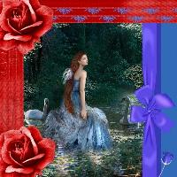 Lady surrounded in red and blue