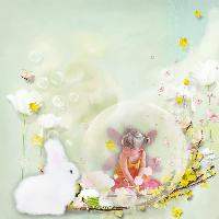 Girl, Bunny, Bubbles and Flower