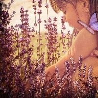 Girl Playing in Lavender