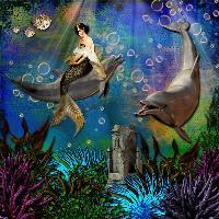 ~Mermaid Riding On A Dolphin~