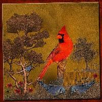 Blue Birds and the Cardinal !
