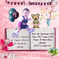logan rose 1st Birthday Invitation