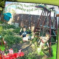 Swinging in the backyard