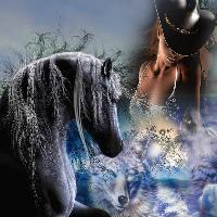 Horses, Wolves & Cowgirl