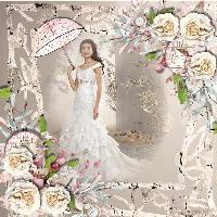 wedding dress with parasol