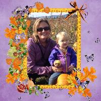 Tegan and Grams in  the pumpkin patch