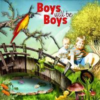 Boys will be boys in wheelbarrow