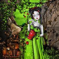 geisha in green
