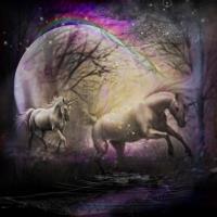 Unicorns at dusk