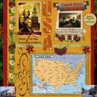 USA Country Map with Founding Fathers
