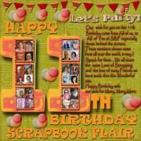 HAPPY 11TH BIRTHDAY SCRAPBOOK FLAIR