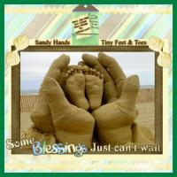 Sand Sculpture of hands holding Tiny Feet