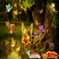 Fairy Girl admiring Goldfish in a Pond