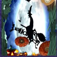 witch rides over halloween by elle