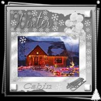 Winter Cabin Decorate With Christmas Lights