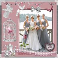 Pink and Gray_Bridesmaids Dresses