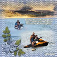 Olivia and her Dad on the Jet Ski